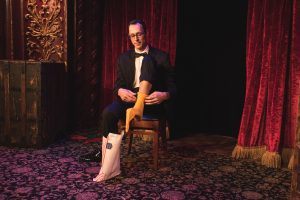 New York magician Derrin Berger performs at the Magic Castle in Hollywood, CA